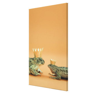 Frog and lizard wearing crowns canvas print