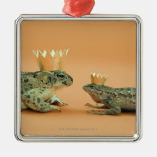 Frog and lizard wearing crowns Silver-Colored square decoration