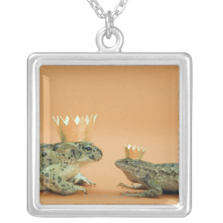Frog and lizard wearing crowns silver plated necklace