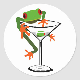 Frog and Martini Round Sticker