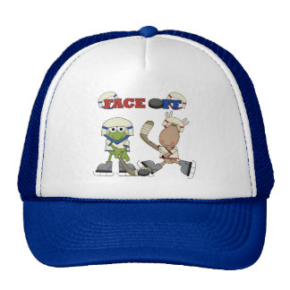 Frog and Moose Hockey Face Off tshirts and Gifts Cap