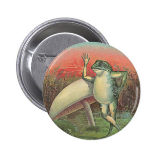 Frog and Mushroom 2 Inch Round Button