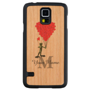 Frog and red heart personalized monogram carved cherry galaxy s5 case