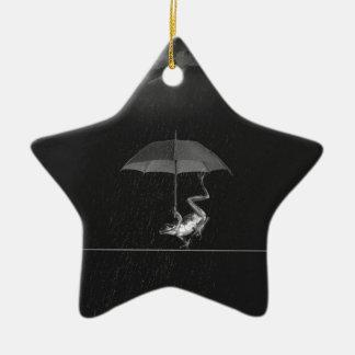 Frog and umbrella christmas ornament