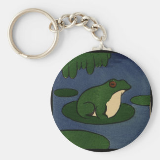 Frog - Antiquarian, Colorful Book Illustration Basic Round Button Key Ring