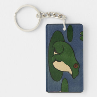Frog - Antiquarian, Colorful Book Illustration Double-Sided Rectangular Acrylic Key Ring