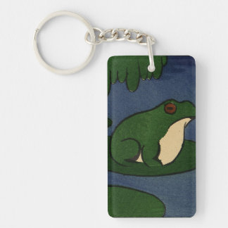 Frog - Antiquarian, Colorful Book Illustration Double-Sided Rectangular Acrylic Key Ring
