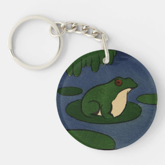 Frog - Antiquarian, Colorful Book Illustration Double-Sided Round Acrylic Key Ring