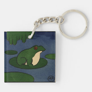 Frog - Antiquarian, Colorful Book Illustration Double-Sided Square Acrylic Key Ring