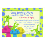 Frog Bounce Birthday Personalised Announcements