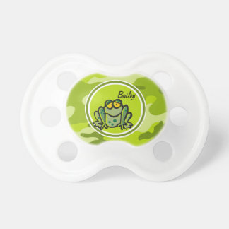Frog bright green camo camouflage pacifier