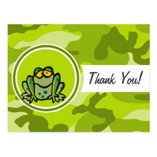 Frog; bright green camo, camouflage postcards
