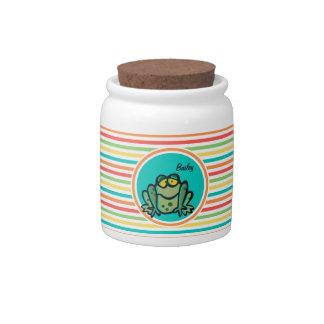 Frog; Bright Rainbow Stripes Candy Jar