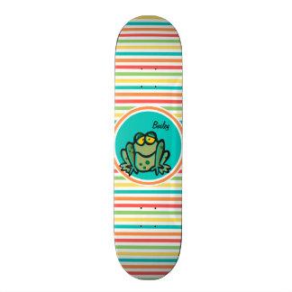 Frog Bright Rainbow Stripes Custom Skateboard