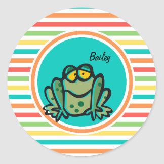 Frog Bright Rainbow Stripes Stickers