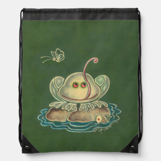 Frog Butterfly Funny Drawstring Bag