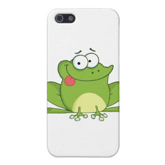 Frog Cartoon Character Hanging Its Tongue Out iPhone 5 Cases