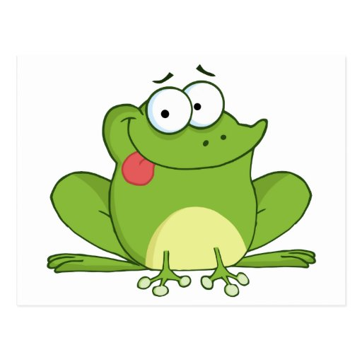 Frog Cartoon Character Hanging Its Tongue Out Post Card
