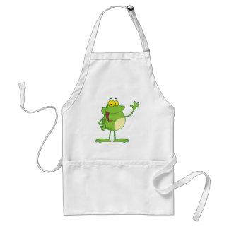 Frog Cartoon Mascot Character Waving A Greeting Aprons