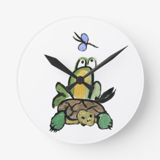 Frog Catches a Ride on Turtle Round Clock