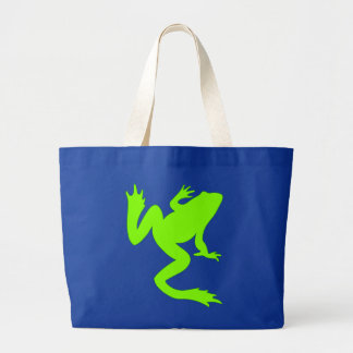 Frog Chartreuse Green Frog Silhouette Large Tote Bag