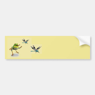Frog Chasing Dragonfly Bumper Sticker