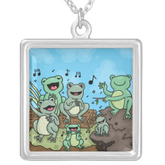 Frog Chorus Silver Plated Necklace
