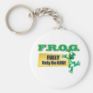 FROG CHRISTIAN ACRONYM FULLY RELY ON GOD BASIC ROUND BUTTON KEY RING