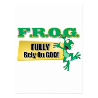 FROG CHRISTIAN ACRONYM FULLY RELY ON GOD POSTCARD
