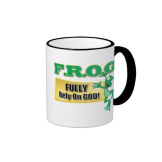 FROG CHRISTIAN ACRONYM FULLY RELY ON GOD RINGER MUG