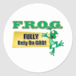 FROG CHRISTIAN ACRONYM FULLY RELY ON GOD ROUND STICKER