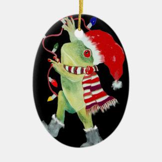 Frog Christmas lights ornament