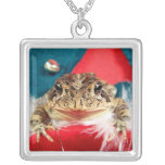 Frog Christmas , Tinsel, feathers, santa pattern Personalised Necklace