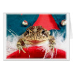 Frog Christmas , Tinsel, feathers, santa pattern Note Card