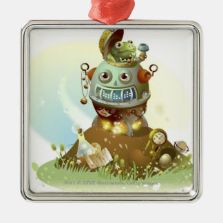 Frog coming out from an UFO Silver-Colored Square Decoration