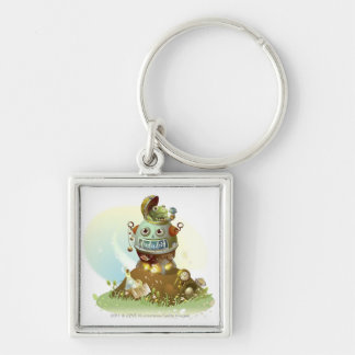 Frog coming out from an UFO Silver-Colored Square Key Ring