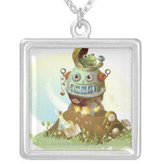 Frog coming out from an UFO Silver Plated Necklace