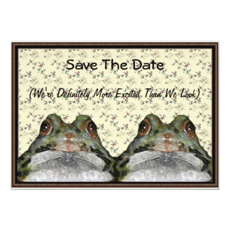 Frog Couple: Cute, Funny, Save the Date: Art 13 Cm X 18 Cm Invitation Card