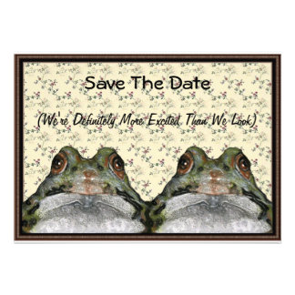 Frog Couple: Cute, Funny, Save the Date: Art Personalized Invite