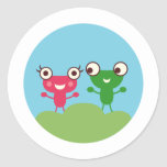 Frog Couple Round Stickers