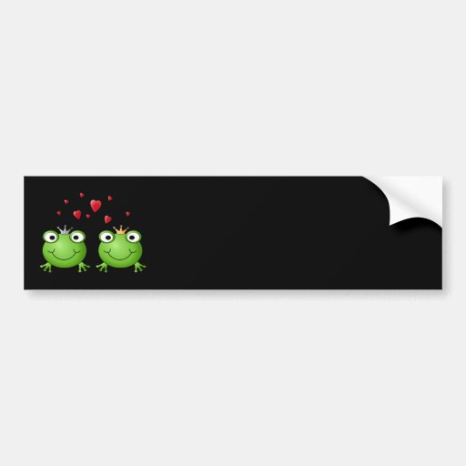 Frog Couple with hearts. Car Bumper Sticker