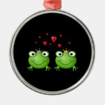 Frog Couple with hearts. Christmas Ornaments