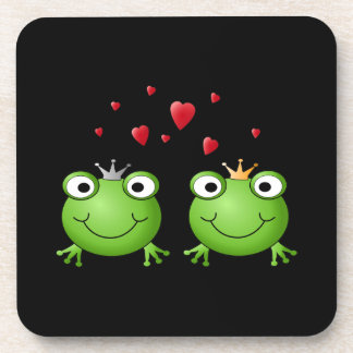 Frog Couple with hearts. Coaster