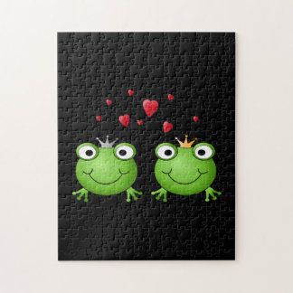 Frog Couple with hearts. Jigsaw Puzzle