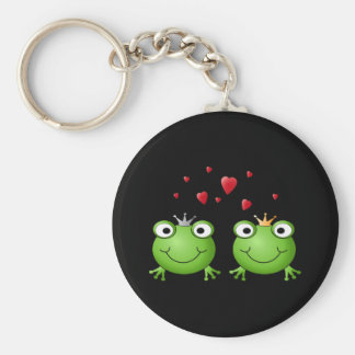 Frog Couple with hearts. Key Ring