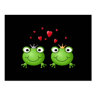Frog Couple with hearts. Postcard