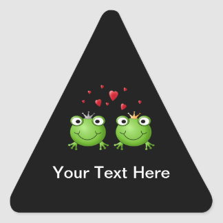 Frog Couple with hearts. Triangle Sticker