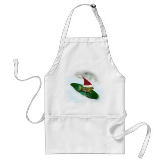 Frog Dashing Through the Snow on a Lily Pad Standard Apron