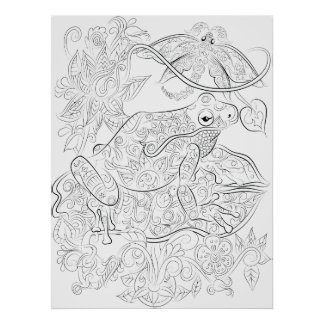 Frog drawing adult colouring poster
