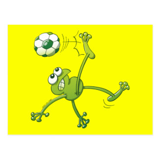 Frog Executing a Bycicle Kick with a Soccer Ball Postcard